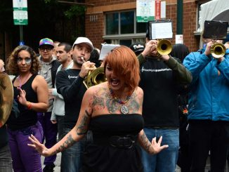 Drag queens performed in the Gayborhood to celebrate Outfest. ( MEAGAN POGUE // TTN )