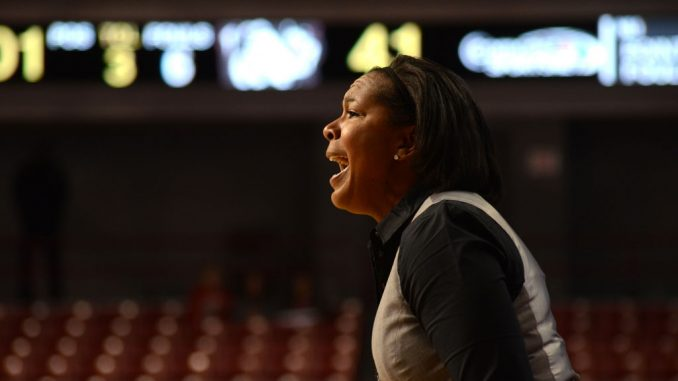 Coach Tonya Cardoza encourages her team to protect the basketball. | MAGGIE TRAPANI / TTN