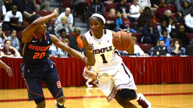 Freshman guard Erica Covile dribbles by Syracuse freshman guard Brittney Sykes in the Owls' 74-67 comeback win at McGonigle Hall Sunday. | MAGGIE TRAPANI / TTN