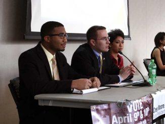 Temple United, led by Darin Bartholomew (center), won this year's TSG election. | JAZMYNE ANDERSON / TTN