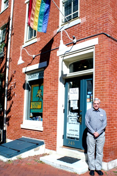 Ed Hermance stands outside of Giovanni's Room, Hermance has been with the store since 1976.   Luis Fernando Rodriguez TTN