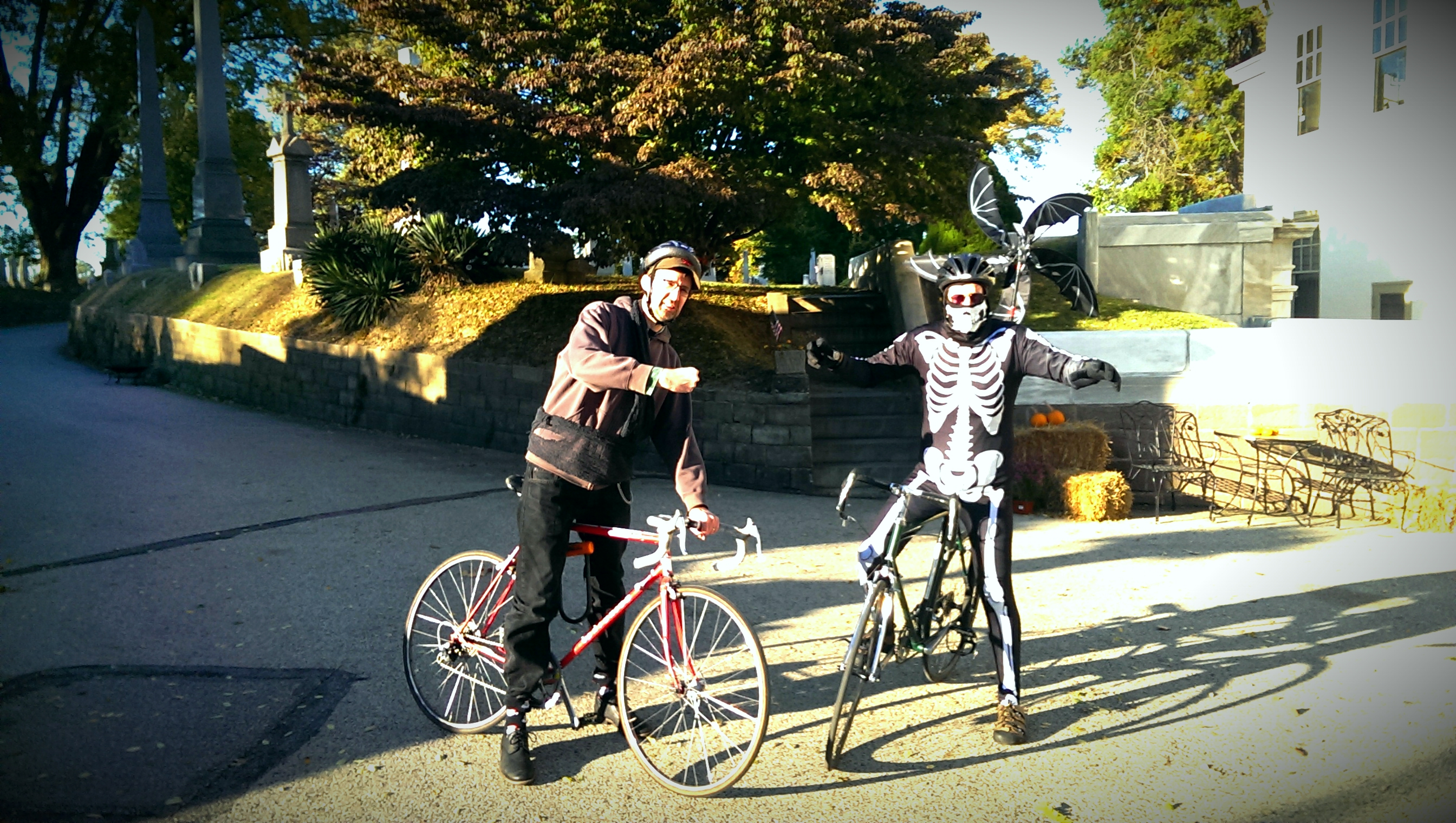 Riders gathered at the Bell Tower on Saturday, Oct. 26 to ride to Laurel Hill Cemetery.