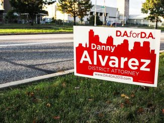 A campaign lawn sign stands for district attorney candidate Danny Alvarez, who is running against incumbent Seth Williams. | Kelsey Stanger TTN