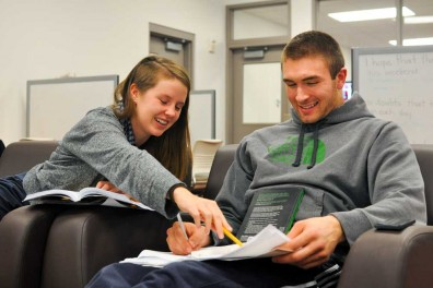 Senior Dalton Pepper of the basketball team meets with tutor Kate Kelly each week to keep on top of his academics as a student-athlete. Kelly is a reporter for The Temple News.   SASH SCHAEFFER TTN