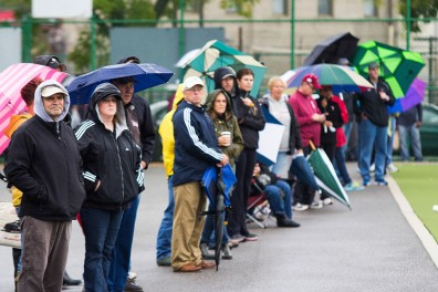 Despite heavy rainfall during the field hockey team's game last Friday against Providence, Geasey Field still drew hundreds of spectators. | Andrew Thayer TTN
