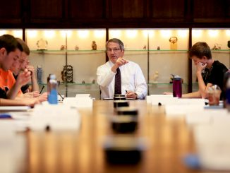 President Theobald teaches a freshman seminar to President's Scholars at Sullivan Hall on Mondays. The class discusses issues at the university and seeks to develop potential solutions in response.   Hua Zong TTN