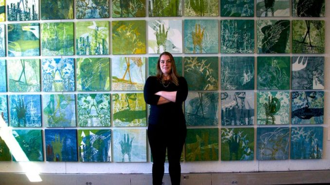 Francine Affourtit organized her fellow graduate students at Tyler for an opportunity to collaborate with L.A.-based artist Katie Grinnan. Grinnan's work, finalized by student contributions, was displayed at The Print Center. | Kristen Vanleer TTN