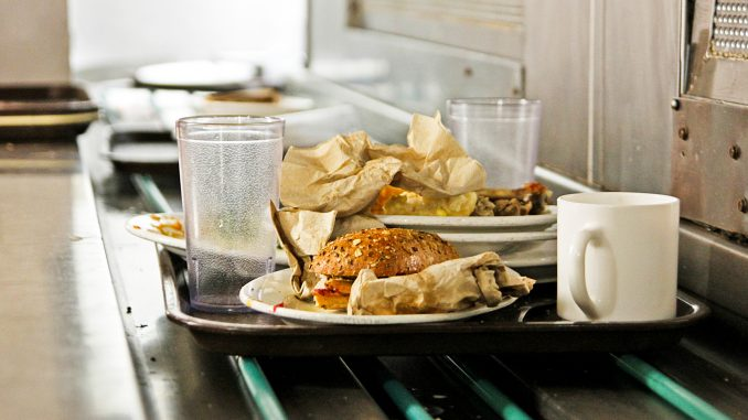 Food and watse is piled along the collection line in the Johnson and Hardwick Cafeteria. Sodexo has several policies to discourage students from wasting food. | Timothy Valshtein TTN