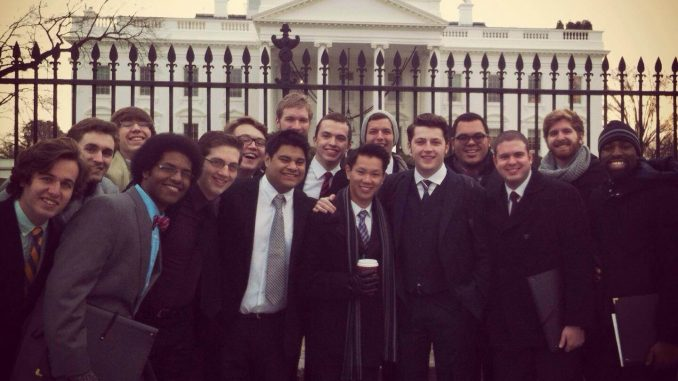 The members of Broad Street Line stand in front of the White House on Dec. 16.   Courtesy Ryan Carlin