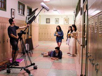 "The cast and crew of ""West Montclair High East"" film the series.