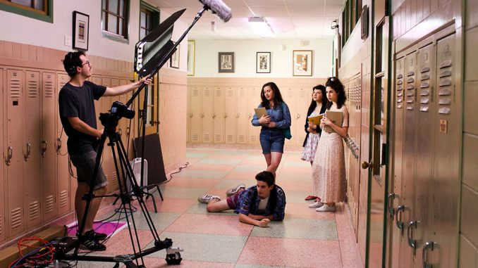 """The cast and crew of """"West Montclair High East"""" film the series.