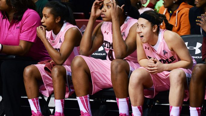 """The Owls' bench looks toward the court during the team's 55-53 loss to Cincinnati. Coach Tonya Cardoza said she is """"frustrated"""" with the team's string of close losses against conference opponents this season.