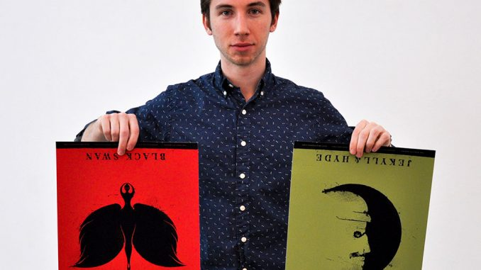 "Max Amato holds two prints of his own design, themed after ""Black Swan"" and ""Jekyll & Hyde."" 