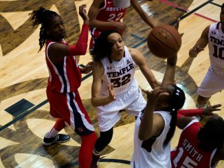 Redshirt-senior Natasha Thames garners for position during Temple's home win against Houston. | Abi Reimold TTN