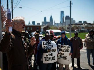 Mark Taylor Lewis, coordinator for Educators for Mumia Abu-Jamal, speaks in support of professor Anthony Monteiro. | Eric Dao TTN
