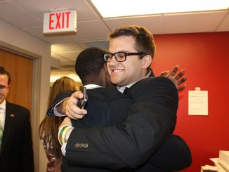 Student Body President-elect Ray Smeriglio (right) embraces Blair Alston after winning office. | John Moritz TTN