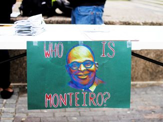 Students for Monteiro promoted its cause at a booth set up near the Bell Tower last week. Members are planning to hold a walk-out and protest in the same location on Wednesday, April 9. | Alexis Wright-Whitley TTN