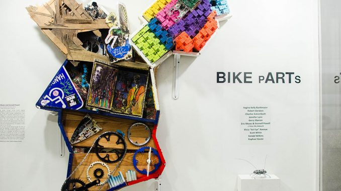 """Donnell Powell and Eric Mozes created a sculpture is displayed at a City Hall art show entitled """"Boundaries Therefore We Brake."""" 