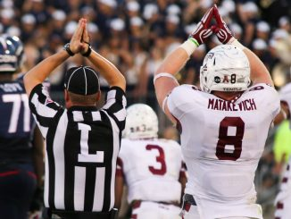 Junior linebacker Tyler Matakevich celebrates the Owls' safety against Connecticut, where the defense contributed 16 points in Temple's 36-10 conference win. Andrew Thayer | TTN