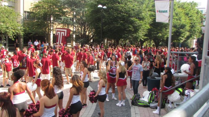Liacouras Walk was decked out in cherry and white on Sept. 5 to kick off the first football pep rally of the year. Alexa Bricker | TTN