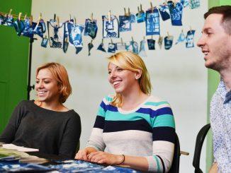 Ola Piatkowska, (left) Krista Filchner and Chris Setty, seniors at Tyler. sell their photography as regular prints or fabric prints. Jenny Kerrigan   TTN
