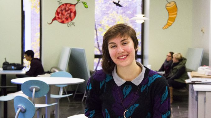 Katy Ament, a member of Green Council, plans the Nov. 19 vegetarian Thanksgiving. Margo Reed   TTN