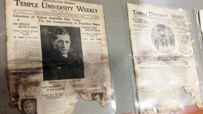 A 1930s issue of Temple University Weekly, Temple's student-run newspaper, sits on display at Ginsburg Library. Alexa Zizzi | TTN
