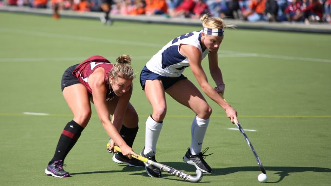 Redshirt-freshman defender Elle Hempt competes for the ball during the team's 2-0 loss to Penn State on Oct. 5. Hempt has started eight of the team's 21 games. Andrew Thayer | TTN