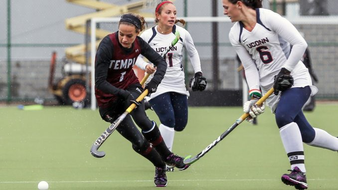 Senior forward Amber Youtz chases after the ball against Connecticut last Saturday. Hua Zong | TTN