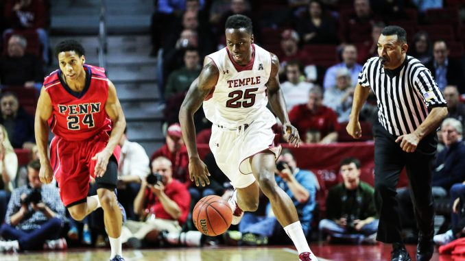 Junior guard Quenton DeCosey advances the ball down the court against Penn during the team's 76-67 win last Tuesday at the Liacouras Center. Hua Zong | TTN