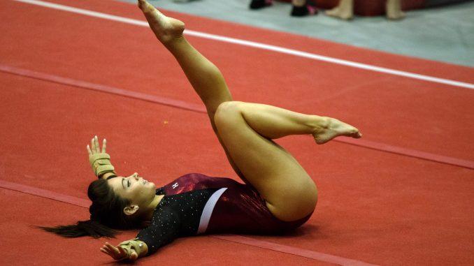 Senior gymnast Alexandra Forcucci performs against Ursinus last Saturday. | Allan Barnes TTN