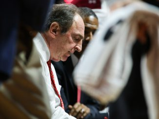 Temple coach Fran Dunphy draws up a play during a timeout during the Owls' 75-59 win against Cincinnati. Dunphy is in his ninth year as Temple's head coach. | Jenny Kerrigan TTN