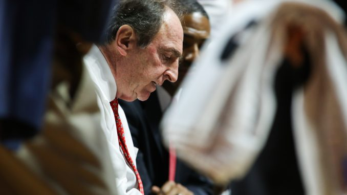 Temple coach Fran Dunphy draws up a play during a timeout during the Owls' 75-59 win against Cincinnati. Dunphy is in his ninth year as Temple's head coach.   Jenny Kerrigan TTN