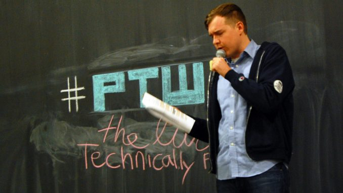 Technical.ly Philly co-founder and alumnus Christopher Wink speaks during the tech website's first live podcast. | Jack Tomczuk TTN