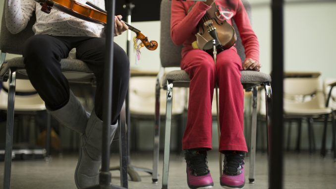Elementary school student-musicians involved in The String Project performed at the Pennsylvania State Capitol in Harrisburg on March 10. | Margo Reed TTN