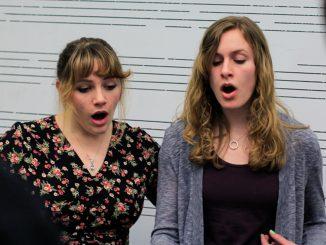 "Sophomore Holleigh Christie (left) and freshman Kristin Stidham rehearse Billy Joel's ""I've Loved These Days"" in Presser Hall on March 17. | Harrison Brink TTN"