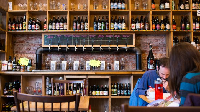 Brew in South Philly offers more than 500 different bottles of beer and 10 different brews on tap. | Kara Milstein TTN