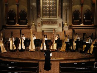 Members of The Temple Youth Harp Ensemble performed at Congregation Rodeph Shalom, located at 615 N Broad St., in 2013. | COURTESY Temple Music Prep