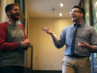 Grant Lindeman (left) and Ryan Carlin are graduating members of the Broad Street Line all male a cappella group. | Jenny Kerrigan TTN