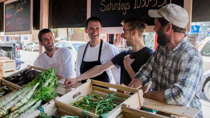 Jack Goldenberg, Alex Bois, Jon Nodler and Teddy Moynihan during the first High Street on Market Farmers Market. The Farmers Market is a collaboration between High Street's chefs and Plowshare farmers, and will be open on 3rd and Market every Saturday.|Aaron Windhorst, TTN