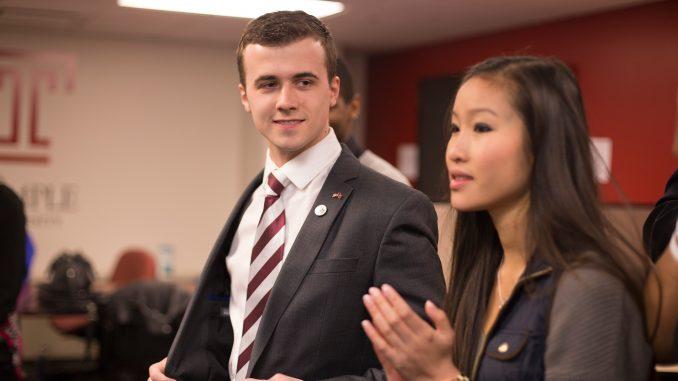 Ryan Rinaldi and Binh Nguyen celebrate following Future TU's TSG election victory in April. | Margo Reed TTN File Photo