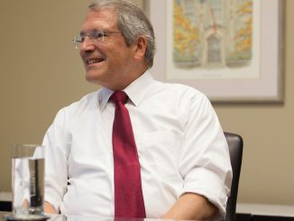 On the second floor of Sullivan Hall Aug. 18, President Theobald discussed his experience as the CFO of Indiana University and his life on the East Coast.   Margo Reed TTN