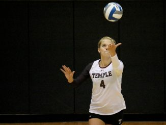 Sandra Sydlik prepares to serve the ball during the Owls' 3-0 win against Montana. | Evan Easterling TTN