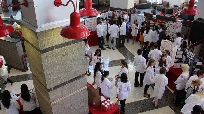 Pharmacy students filled the lobby of the Student Center for a health fair run by Temple's chapter of the American Pharmacists Association.   Daniel Sebastian TTN