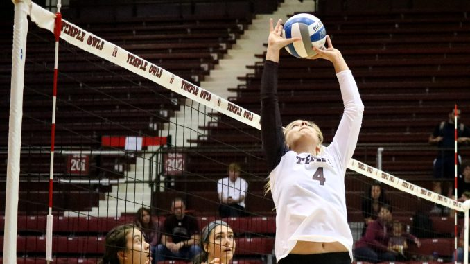 Senior setter Sandra Sydlik sets the ball during the Owls' straight sets win Friday against Montana at McGonigle Hall. | Evan Easterling TTN