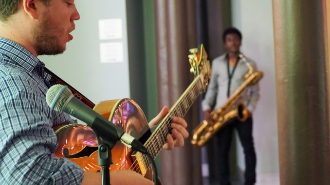 Sean Markey, a senior jazz performance major, performs at The Rite of Swing: Jazz Café at Temple Performing Arts Center Wednesday, Sept. 2. | Tim Mulhern TTN