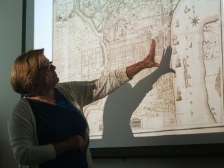 Margaret Carney, university architect, conducts an introductory lecture about urban design and planning.   Allan Barnes TTN