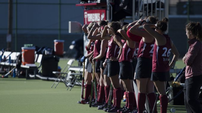 The field hockey team stands at Geasey Field during the squad's 3-1 win on Senior Night against Georgetown University Friday. | Margo Reed TTN