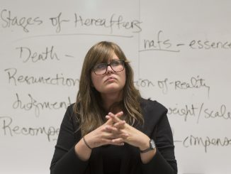"Amy Defibaugh, a professor in the College of Liberal Arts, teaches ""Death and Dying,"" a course focusing on cultural aspects of death and bereavement. 