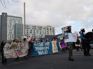 Protesters march down Broad Street toward City Hall during the Million Student March Thursday, Nov. 12. | Geneva Heffernan TTN